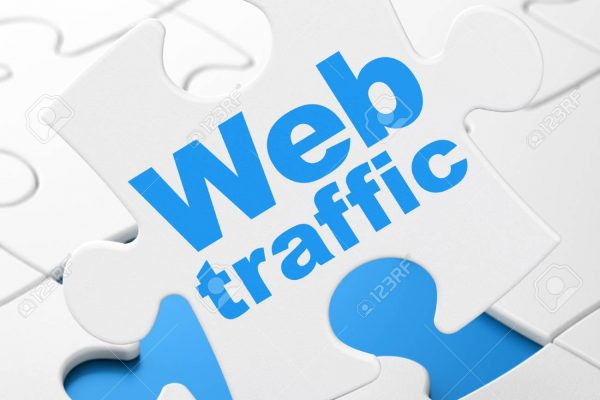 Web design concept: Web Traffic on White puzzle pieces background, 3D rendering